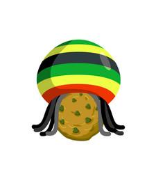rasta cookies rastafarian hat and dreadlocks and vector image