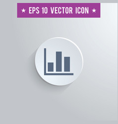 Bar chart symbol icon on gray shaded background vector