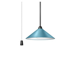 Retro hanging lamp in blue design with cord switch vector