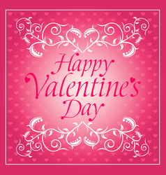 Pink happy valentines day background card with flo vector
