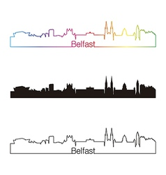 Belfast skyline linear style with rainbow vector