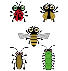 Cute little bugs vector