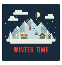 Ski resort in mountains winter time night vector