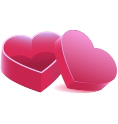 Pink heart shaped open box vector image