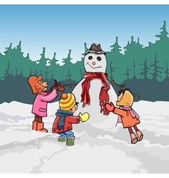 Cartoon children mold the snowman in winter vector