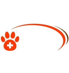 Background with paw and veterinarian cross vector