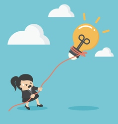 Business woman pulling bulb with rope vector