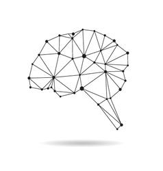Geometric brain design silhouette vector image