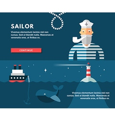 Profession concept sailor flat design concepts for vector