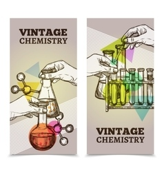 Chemistry laboratory vintage vertical banners set vector