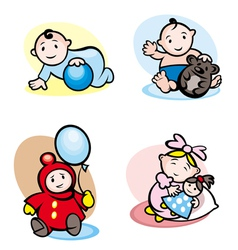 Cartoon girls and boys vector image