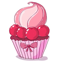 doodle cupcake vector image