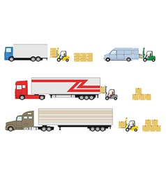 Set of truck with forklift loader vector image