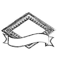 Blurred silhouette heraldic diamond shape stamp vector