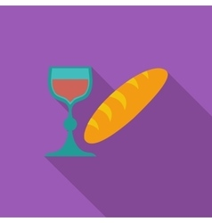 Bread and wine single icon vector image