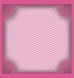 chinese square frame on pink pattern oriental vector image vector image
