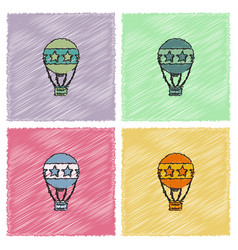 circus watercolor hot air balloon collection in vector image vector image