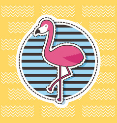 cute patches flamingo round badge stripes fashion vector image