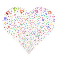 Diamond fireworks heart vector