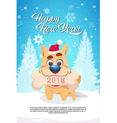 Dog in santa hat holding bone with 2018 sign over vector