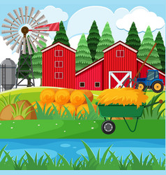 Dried hay and red barns in the farmyard vector