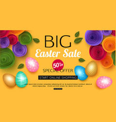 easter sale banner with colorful eggs vector image