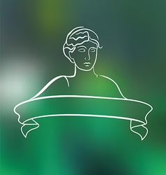 Emblem with young woman vector image