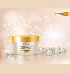 face cream container and pearls vector image
