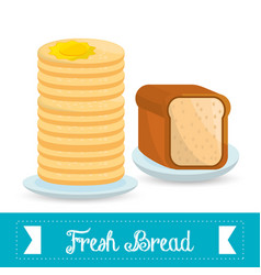 Fresh bread and pans food vector
