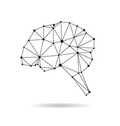 Geometric brain design silhouette vector