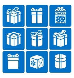 Gift box icons set on blue background vector image