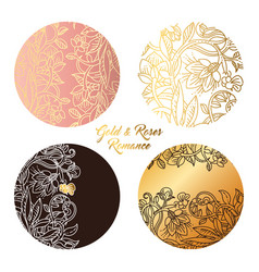 gold and roses round stickers vector image vector image