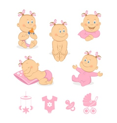 Happy baby girl set vector