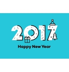 Happy New Year 2017 Memphis Style Text Design vector image