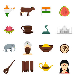 india travel icons set in flat style vector image vector image