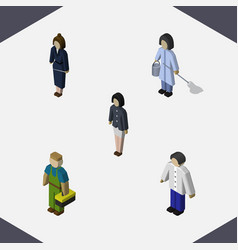 isometric human set of girl plumber housemaid vector image