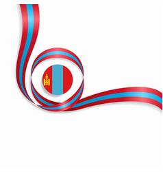 Mongolian wavy flag background vector