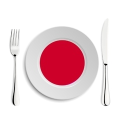Plate with flag of japan vector