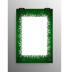 Poster Frame Falling Snow Green Background vector image vector image