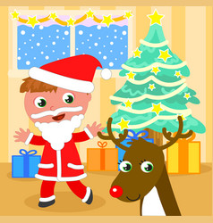 Santa claus kid with reindeer vector
