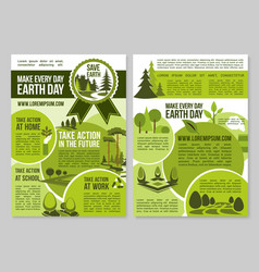 Save planet nature announcement earth day posters vector