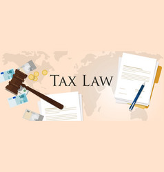 Tax law gavel hammer with money and paper vector