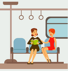 Two women sitting in metro train car part of vector