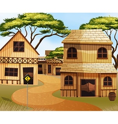 Western town with wooden buildings vector