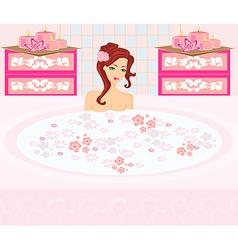 Woman bathing in bathtub in beautiful bathroom vector image