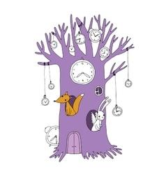 Magic tree clock fox and hare vector image
