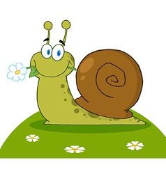 Snail With A Flower In Its Mouth On A Hill vector image