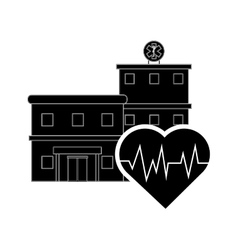 Hospital and heart cardiogram icon vector