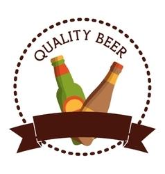 Label two bottles beer quality banner vector