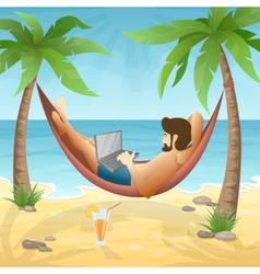 Freelancer at the beach vector